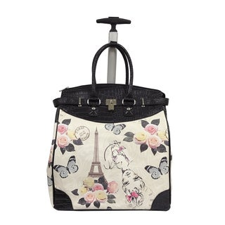 Rollies Paris Eiffel Tower with Butterfly 14-inch Rolling Laptop Travel Tote