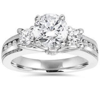 14k White Gold 2 ct TDW Diamond 3-Stone Clarity Enhanced Engagement Ring