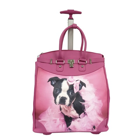 Rollies Puppy Princess Pink 14-inch Rolling Laptop Travel Tote