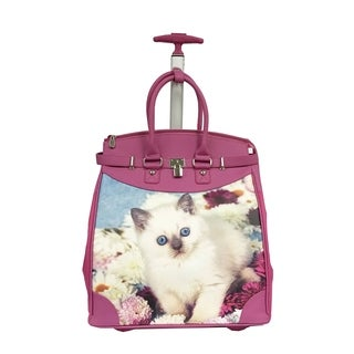 Rollies Queen Blue Eyes Kitten Multicolored Aluminum and Synthetic-leather 14-inch Rolling Laptop Travel Tote