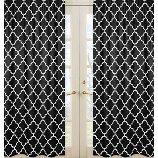 Sweet Jojo Designs Black/White Trellis Print Collection Lattice Window Curtain Panel Pair