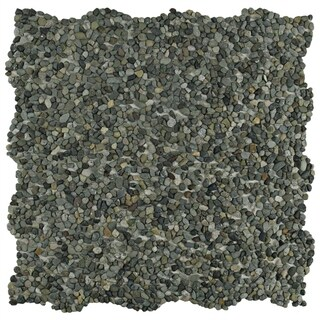 SomerTile 12.25x12.25-inch Pebble Mini Olive Pebble Stone Mosaic Floor and Wall Tile (10/Case, 10.4 sqft.)