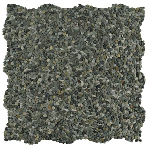 SomerTile 12.25x12.25-inch Pebble Mini Olive Pebble Stone Mosaic Floor and Wall Tile (10 tiles/10.4 sqft.)