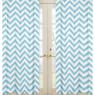 Sweet Jojo Designs Turquoise Microfiber Chevron Collection Curtain Panel Pair
