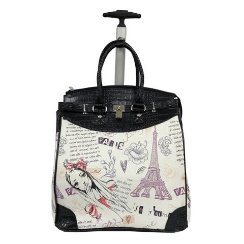 Rollies Paris Eiffel Tower Multicolor Rolling 14-inch Laptop Travel Tote