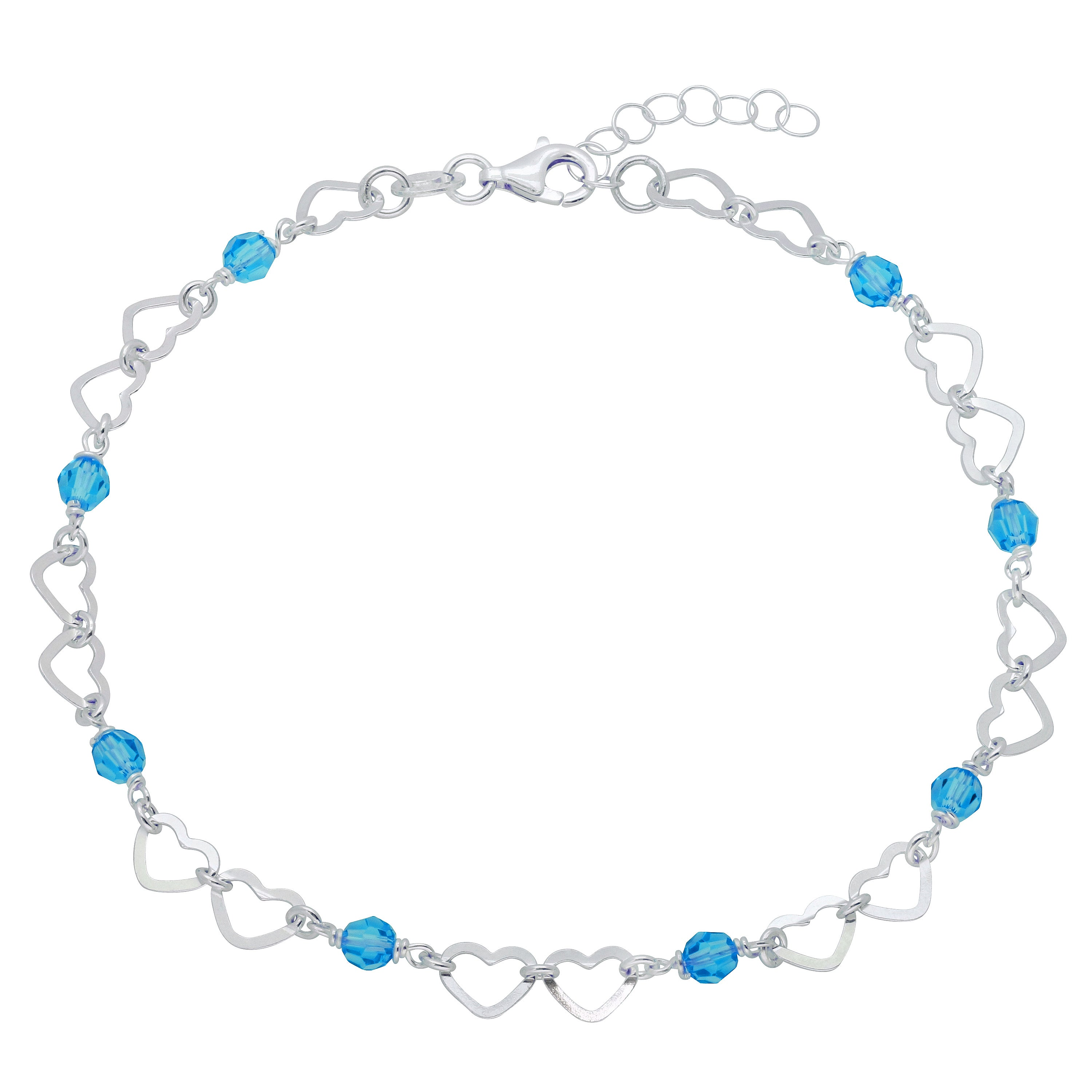 Sterling Silver Crystal Anklet with Cut-out Heart (9+1), ...