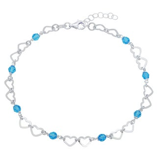 Sterling Silver Crystal Anklet with Cut-out Heart