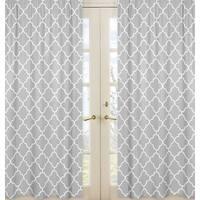 Sweet JoJo Designs Gray and White Trellis Collection Lattice Print Curtain Panel Pair