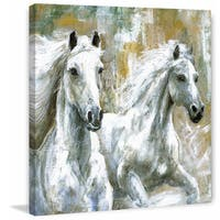'Wild Horses' Painting Print on Wrapped Canvas - White