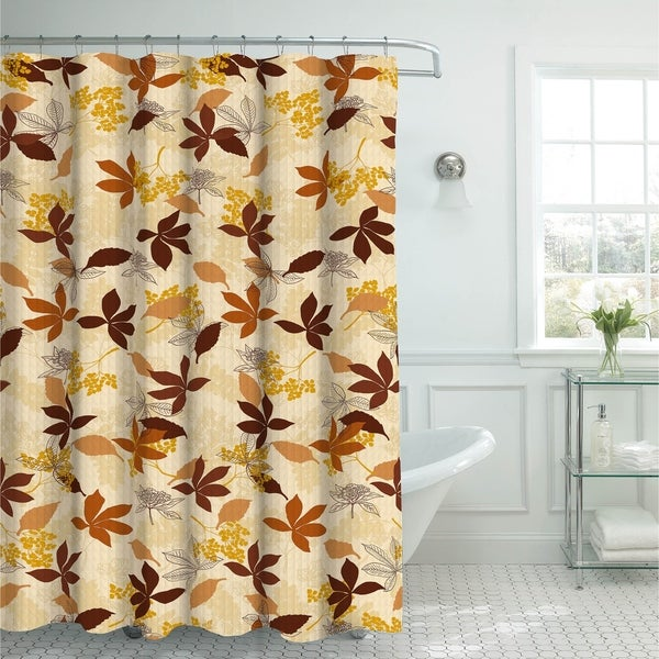 Blowing Leaves Oxford Weave Textured Shower Curtain with 12 Color-Coordinated Metal Rings in Chocolate
