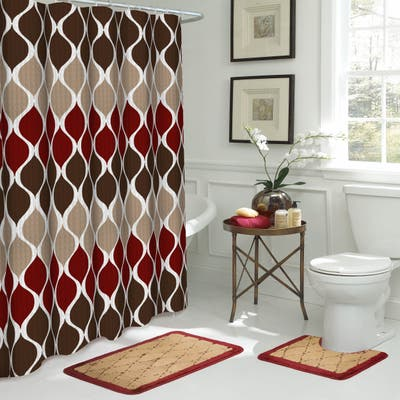 Clarisse Brown and Red Bathroom Shower Curtain and Rugs Set