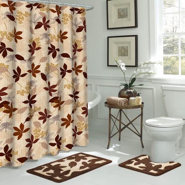 Blowing Leaves 15-Piece Bathroom Shower Set - Brown/Beige