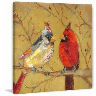 'Cardinal Conversation' Painting Print on Wrapped Canvas