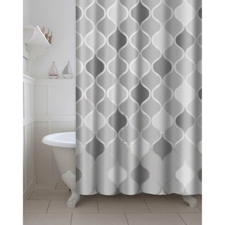 Printed Lisse PEVA/EVA Shower Curtain with Metal Roller Hooks in Grey