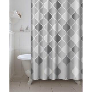 Printed Lisse PEVA/EVA Shower Curtain with Metal Roller Hooks in Grey