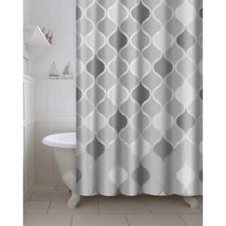 Printed Lisse PEVA EVA Shower Curtain With Metal Roller Hooks In Grey