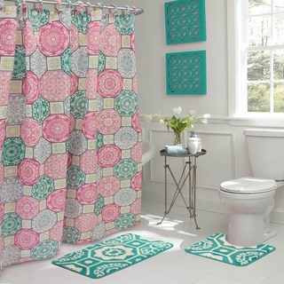 Addison 15-Piece Bathroom Shower Set - Pink/Blue/Green