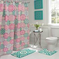 Addison 15-Piece Bathroom Shower Set - Pink/Blue/Green