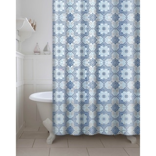 Printed Esha PEVA/EVA Shower Curtain with Metal Roller Hooks in Blue