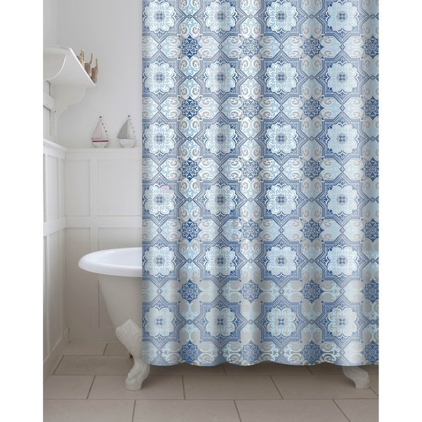 Printed Esha PEVA/EVA Shower Curtain with Metal Roller Hooks in Blue