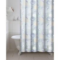 Printed Coral PEVA/EVA Shower Curtain with Metal Roller Hooks in Aqua