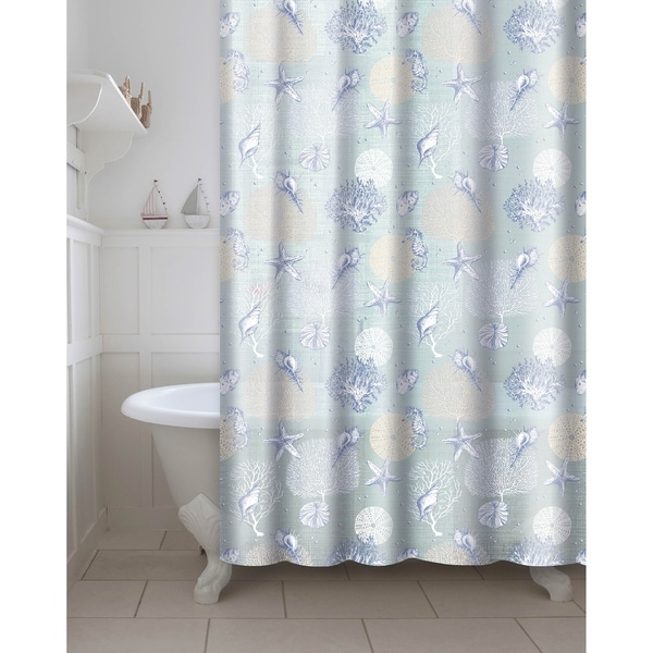 Printed Coral PEVA EVA Shower Curtain With Metal Roller Hooks In Aqua