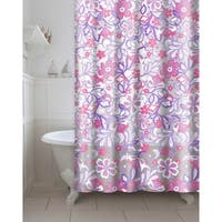 Printed Frotti PEVA/EVA Shower Curtain with Metal Roller Hooks in Purple/Pink