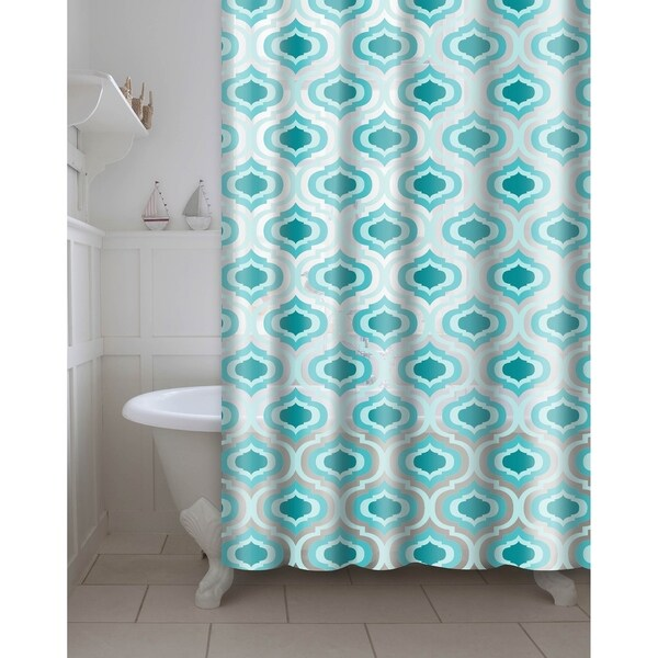 Printed Letto PEVA/EVA Shower Curtain with Metal Roller Hooks in Aqua