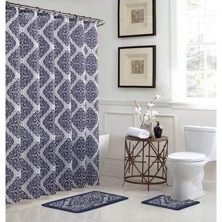 Camille 15-Piece Bathroom Shower Set - Navy/Grey