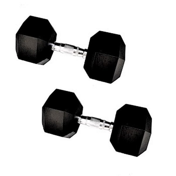 80-pound Rubber Encased Cast Iron Hex Dumbell Pair