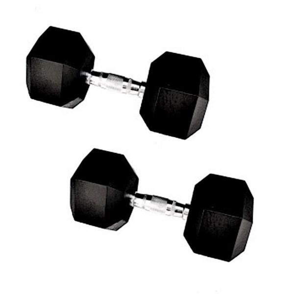 65-pound Rubber Hex Dumbbells (Set of 2)