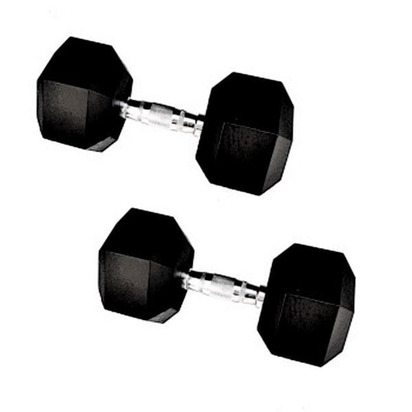25-pound Rubber Encased Cast Iron Hex Dumbell Pair
