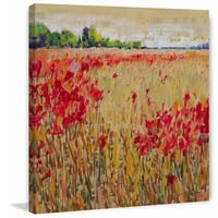 'Corn and Poppies XV' Painting Print on Wrapped Canvas - Red