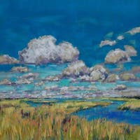 'Summer Clouds and Marsh' Painting Print on Wrapped Canvas - Blue