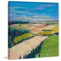 'Patchwork Fields XII' Painting Print on Wrapped Canvas - Green