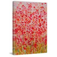 'Sea of Flowers' Painting Print on Wrapped Canvas - Red