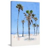 'Palms on the Beach' Painting Print on Wrapped Canvas - Blue