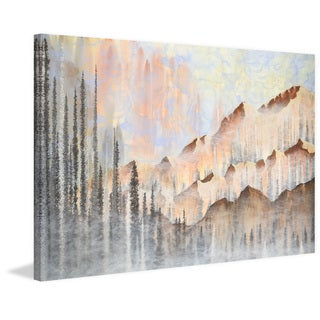 'Dawn in the Mountains' Painting Print on Wrapped Canvas