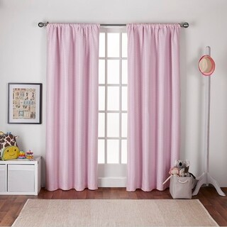 ATI Home Kids Polka Dot Jacquard with Blackout Liner Rod Pocket Window Curtain Panel Pair