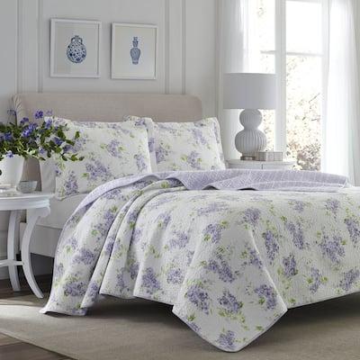 Laura Ashley Keighley Cotton Reversible Purple Quilt Set
