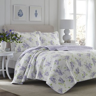 Laura Ashley Keighley Lilac Cotton 3-piece Quilt Set (3 options available)