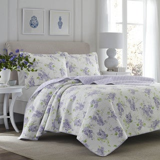 Laura Ashley Keighley Lilac Cotton 3-piece Quilt Set (Option: Full)
