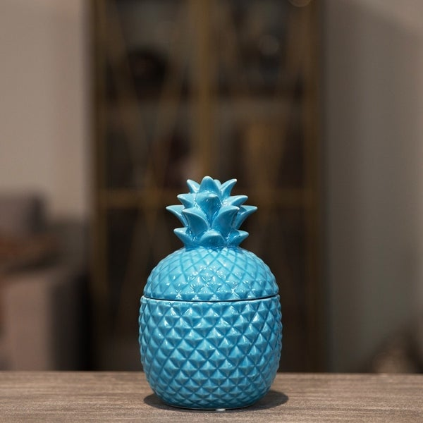 UTC44203: Ceramic 20 oz. Pineapple Canister SM Gloss Finish Blue