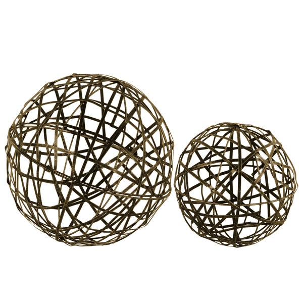 Urban Trends Collection Champagne Metal Coated Finish Nesting Mesh Ball Decor (Set of Two)
