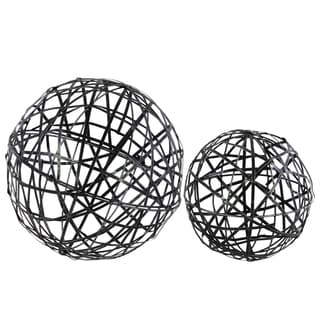 Urban Trends Collection Coated Finish Black Metal Nesting Mesh Ball Decor (Set of Two)