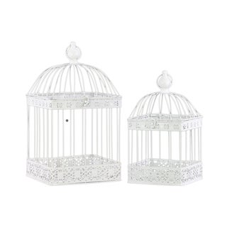 Urban Trends Collection White Coated Finish Metal Square Dome Top Hook Hanger Nesting Bird Cage