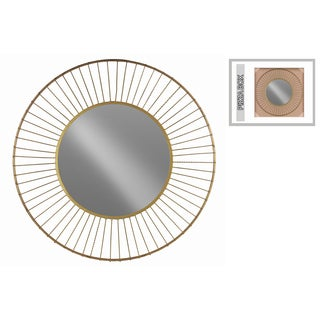Urban Trends Collection Gold Metallic Finish Metal Round Wheel Design Frame Wall Mirror