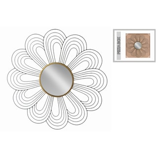 Urban Trends Collection Black Metallic Finish/Gold Center Floral Design Frame Metal Wall Mirror