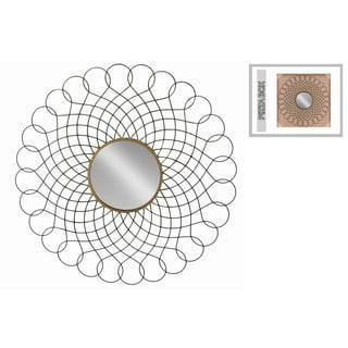 Interlocking Loops Design Black and Gold Metal Round Wall Mirror