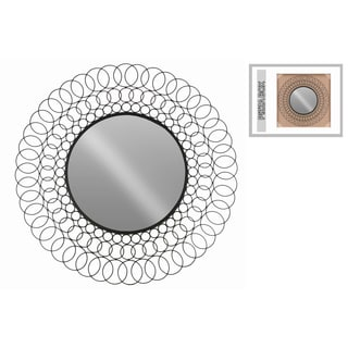 Black Metallic-finished Metal Chained Circles Design Round Wall Mirror